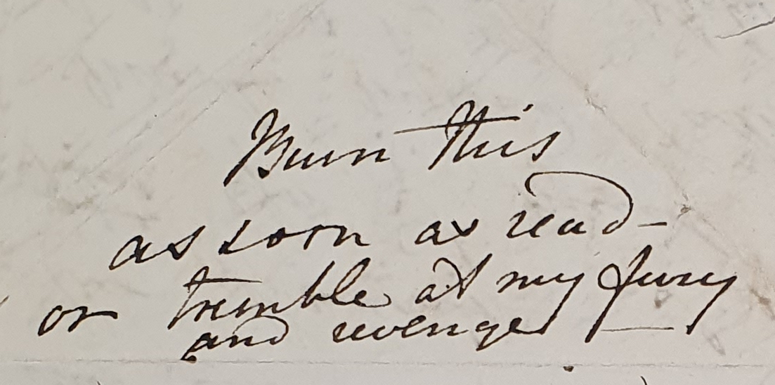 Part of letter from Fanny Owen, [late January 1828] (DAR 204: 43)