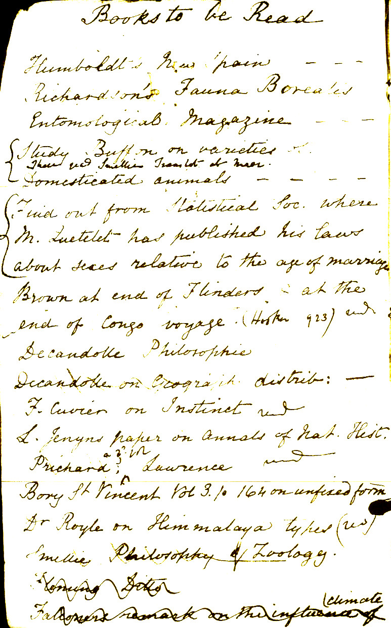 A page from Darwin's reading notebook, started in 1839