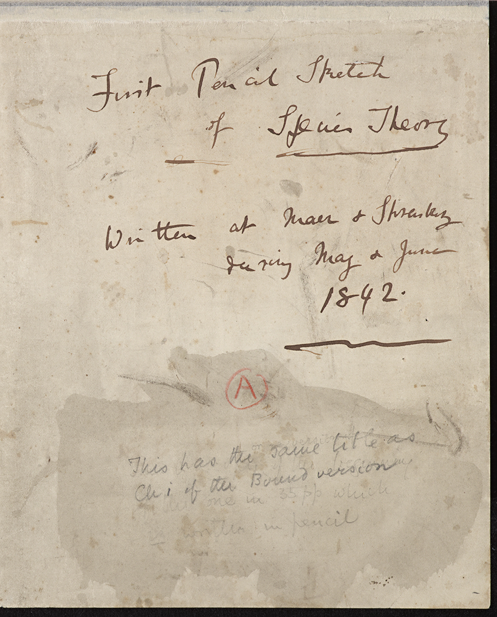 Cover sheet of Darwin's 1842 Pencil Sketch, in which he first uses the term 'Natural Selection'