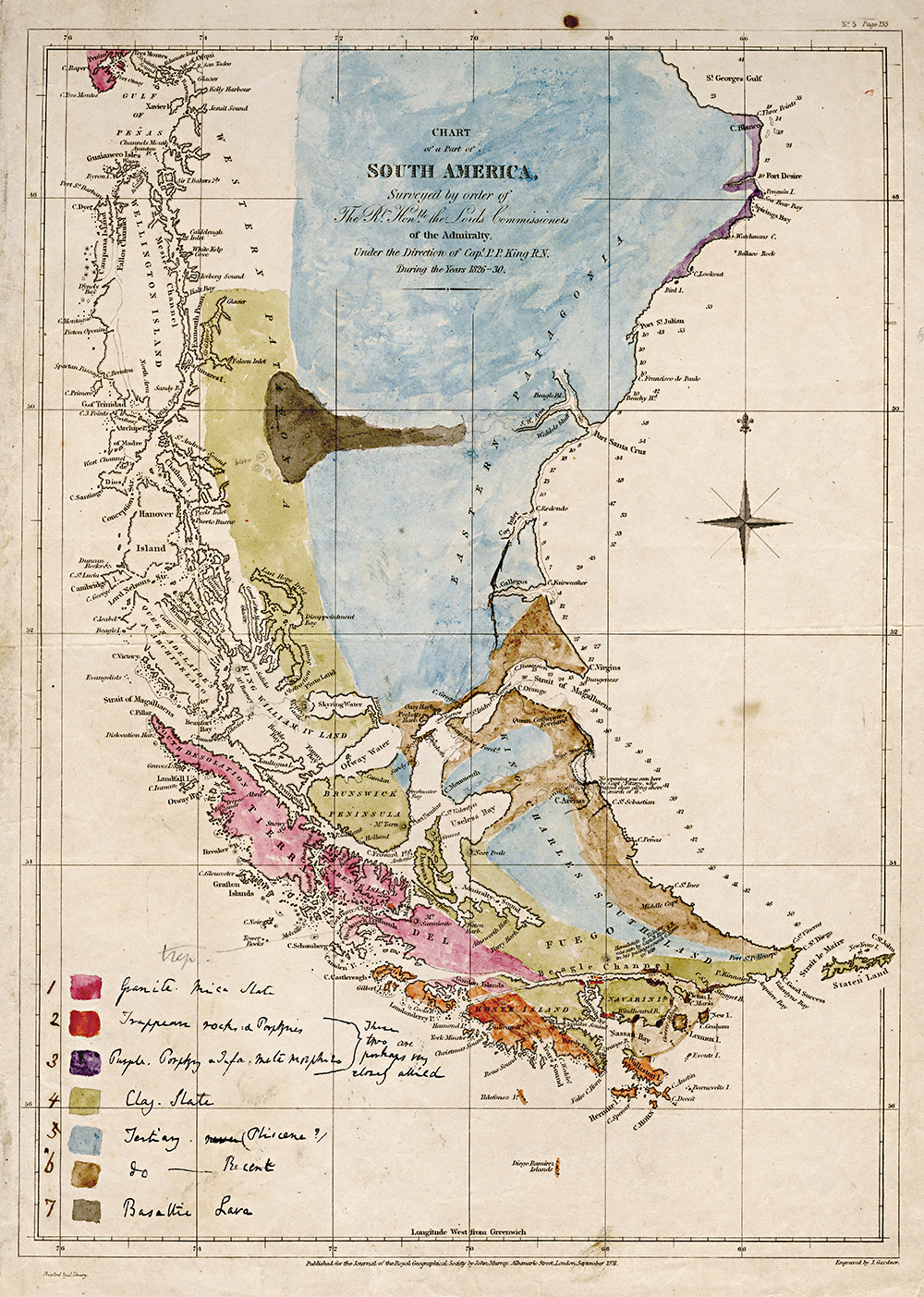 Darwin's hand-coloured geological map of islands off the South American coast